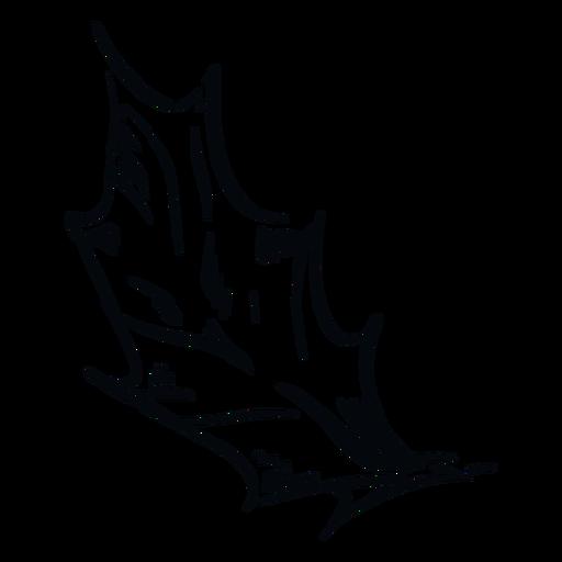Pointed leaf black and white illustration