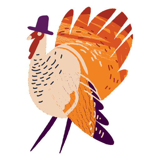 Turkey wearing a hat textured Transparent PNG