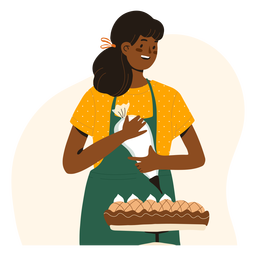 Woman decorating a pie character