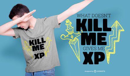 Design de camisetas de citação de experiência de jogo