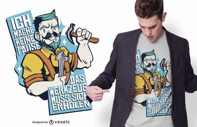 Diseño de camiseta alemán divertido manitas
