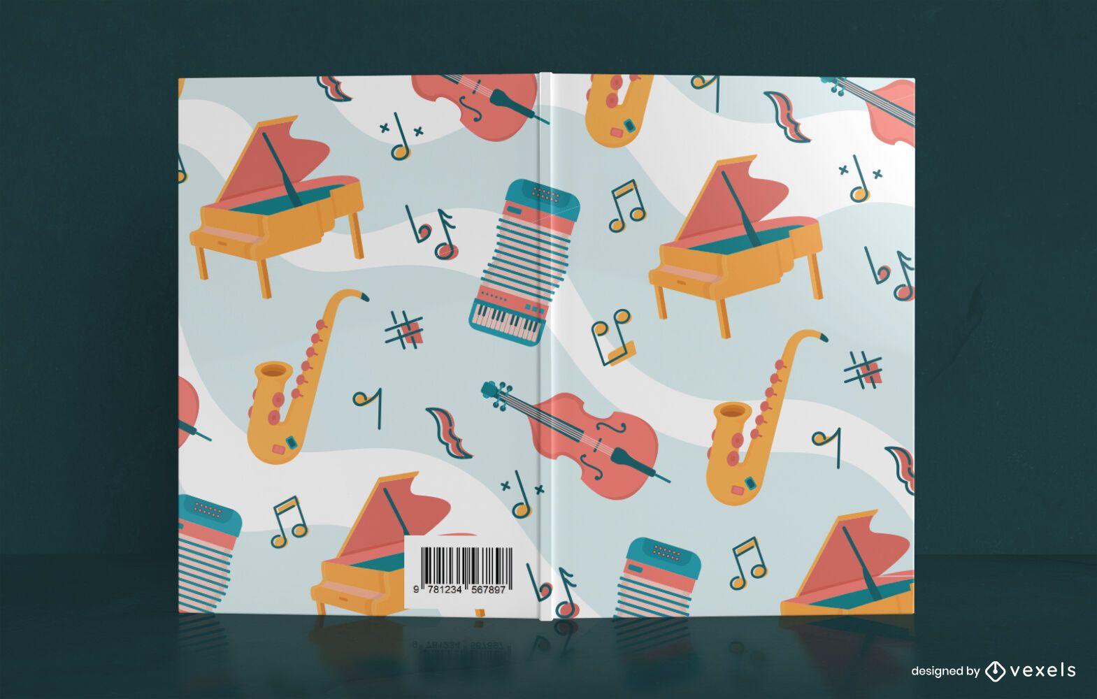 Diseño de portada de libro de cuaderno de música