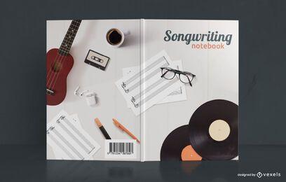 Criação de canções, notebooks musicais, capa de livro