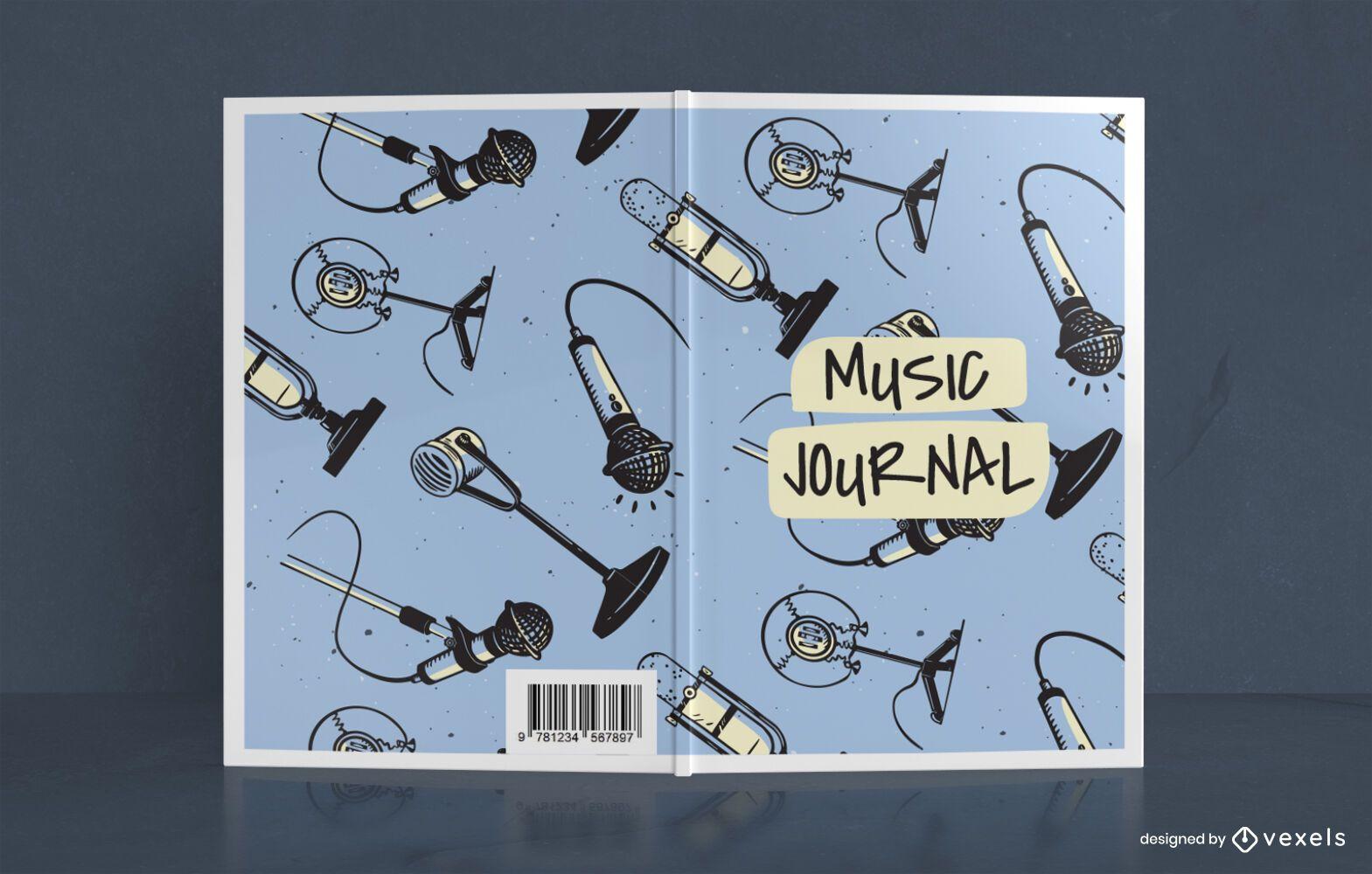 Dise?o de portada de libro Doodle Music Journal