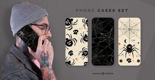 Conjunto de capas de telefone Halloween spiders