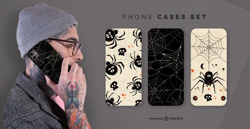 Halloween spiders phone cases set