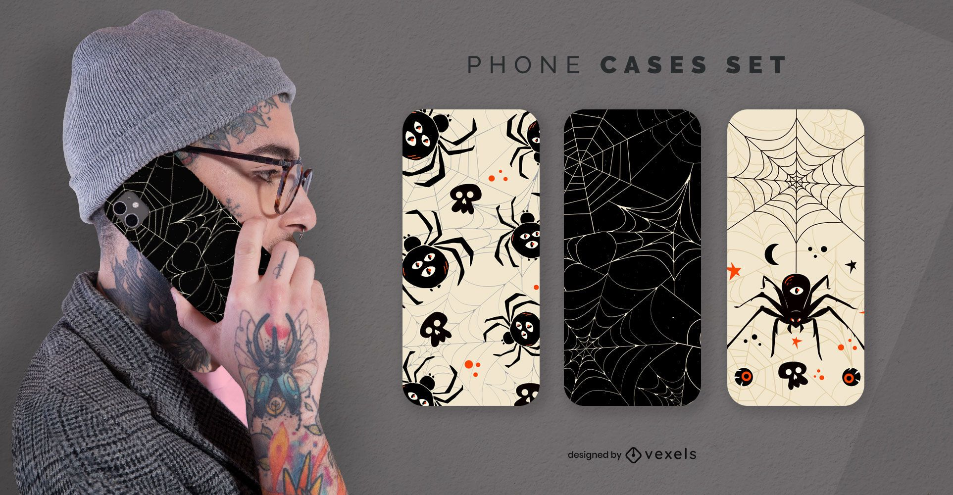 Halloween spiders phone cases set