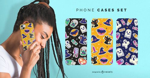 Halloween stickers phone cases set