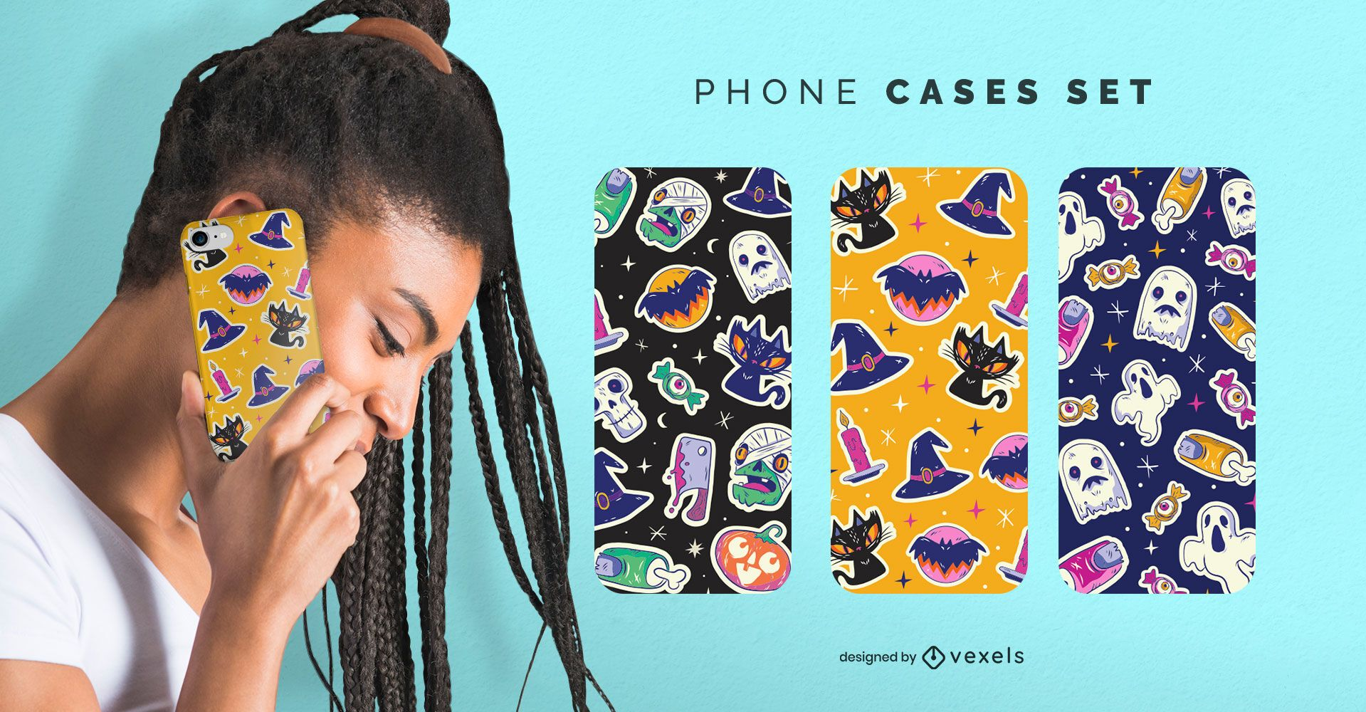 Conjunto de capas de telefone com adesivos de Halloween