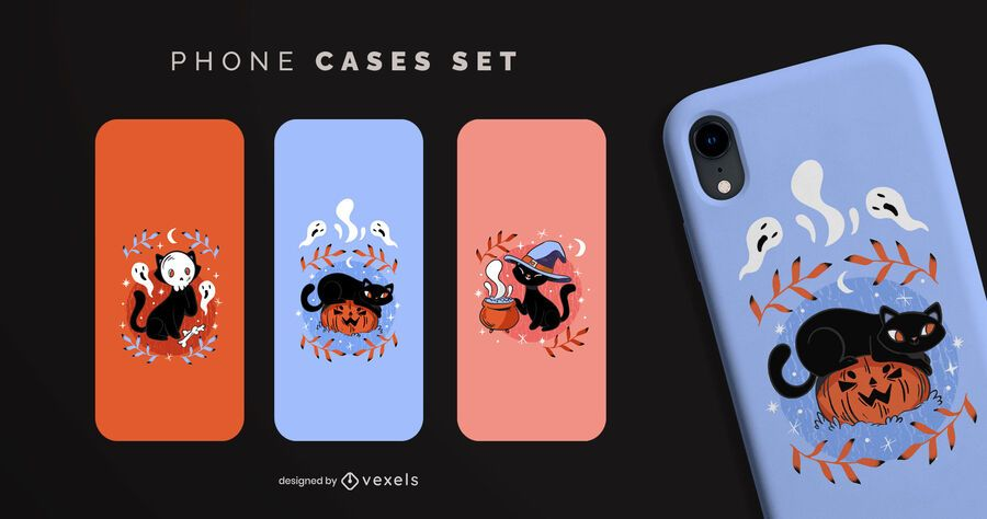 Halloween black cats phone cases set