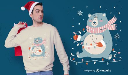 Cute christmas bear t-shirt design