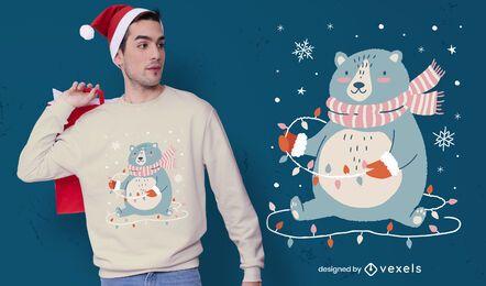 Lindo diseño de camiseta de oso navideño