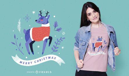 Design de t-shirt de rena feliz natal