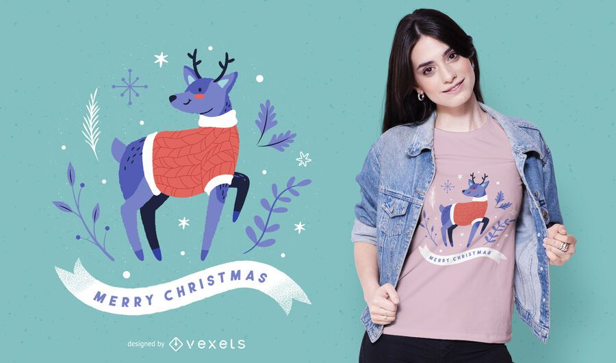 Diseño de camiseta de renos de feliz navidad