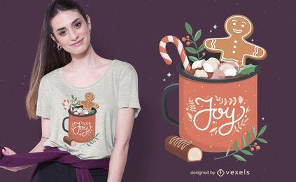 Diseño de camiseta navideña de chocolate caliente