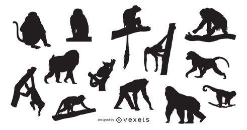 Diseño de escenografía de silueta de mono