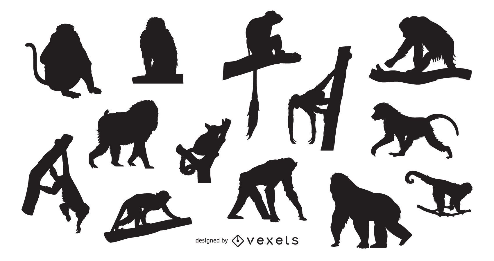 Monkey silhouette set design