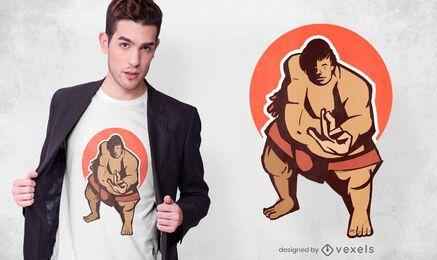 Diseño de camiseta de luchador de sumo