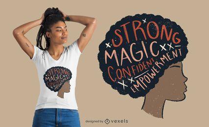 Design de t-shirt com citação de mulher afro orgulhosa