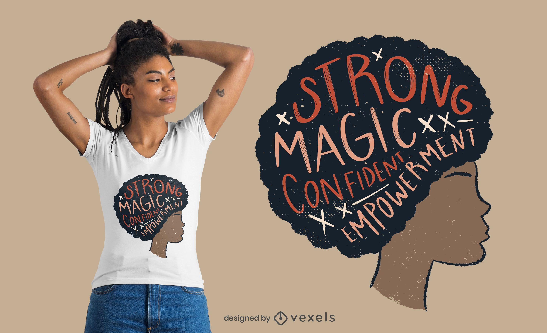 Diseño de camiseta de cita de mujer afro orgullosa