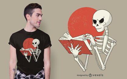 Diseño de camiseta de libro esqueleto