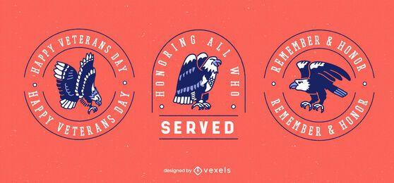 Conjunto de insignias de vacaciones del día de los veteranos