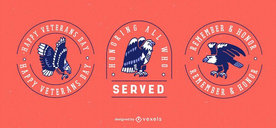 Veterans day holiday badge set