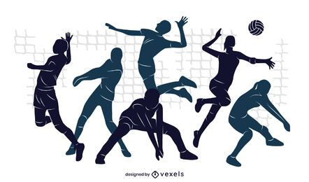 Desenho de ilustração da equipe de voleibol