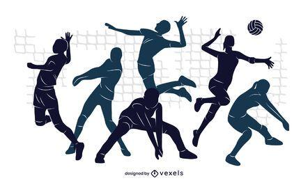 Diseño de ilustración del equipo de voleibol