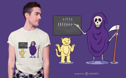Diseño de camiseta Cat and Death