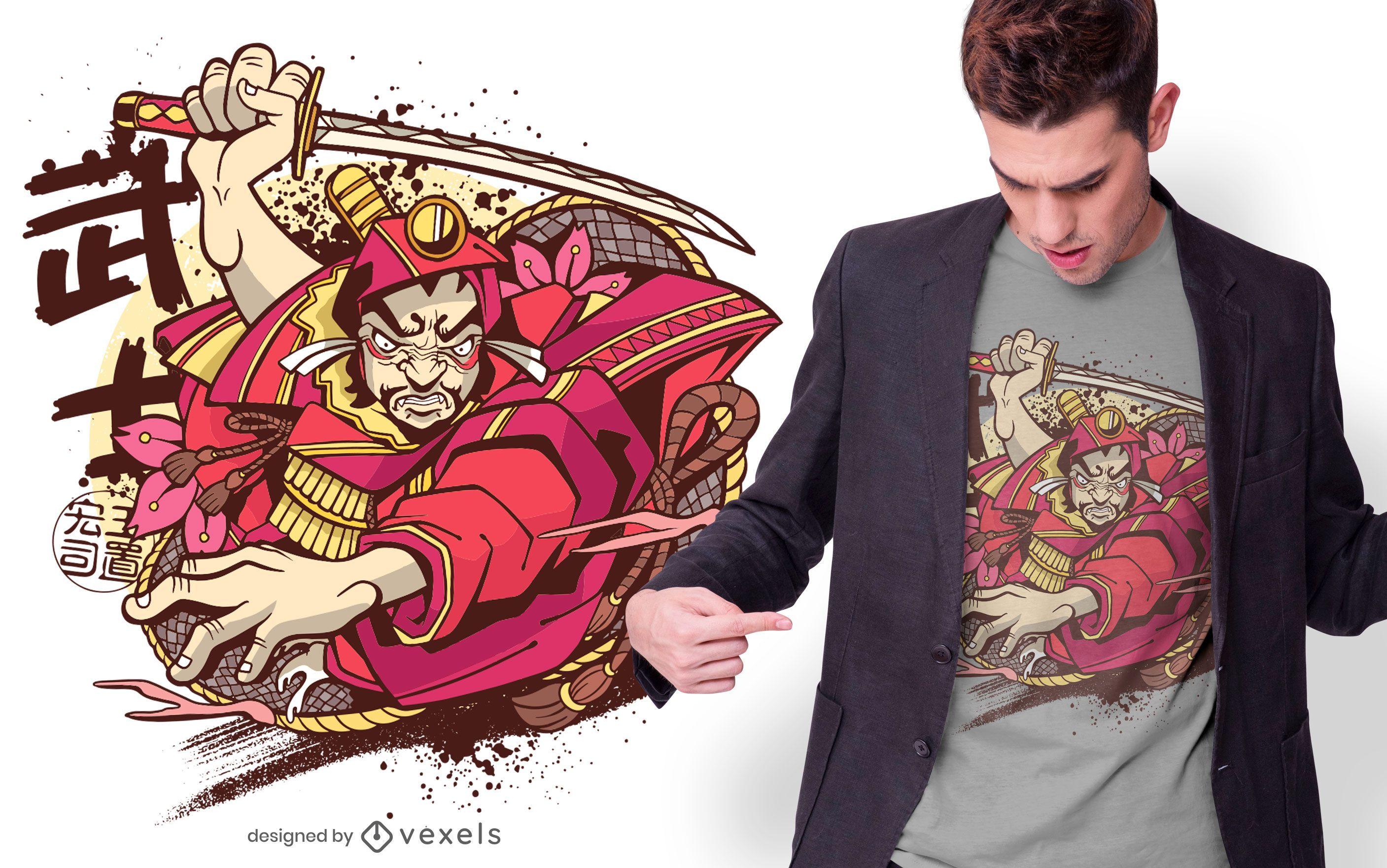Diseño de camiseta de guerrero japonés