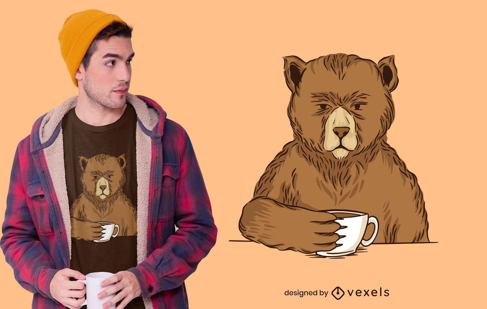 Diseño de camiseta Bear Coffee