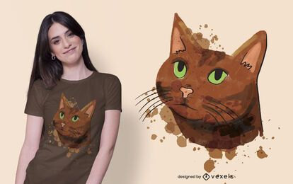 Design de camiseta de gato marrom aquarela