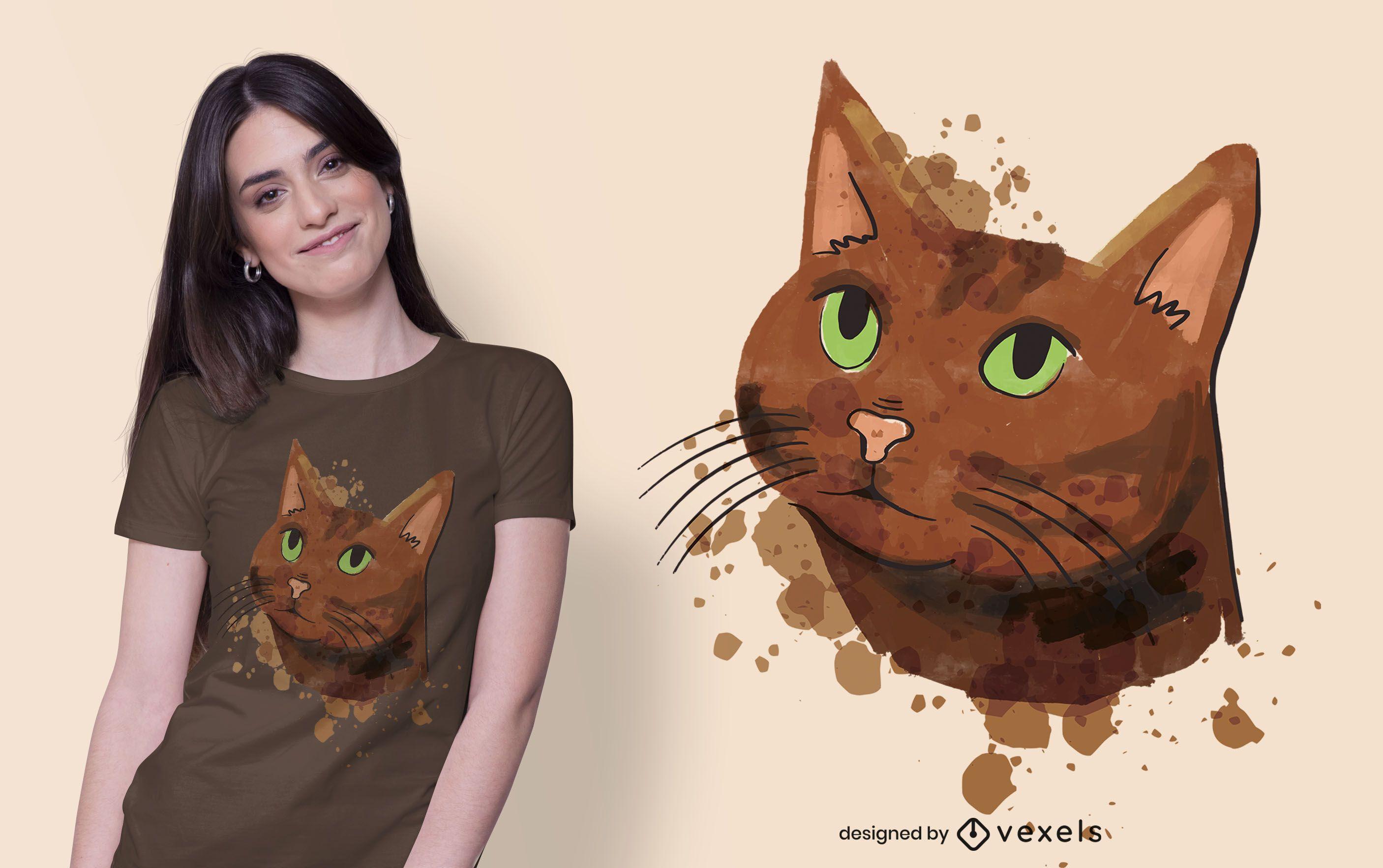 Diseño de camiseta de gato marrón acuarela