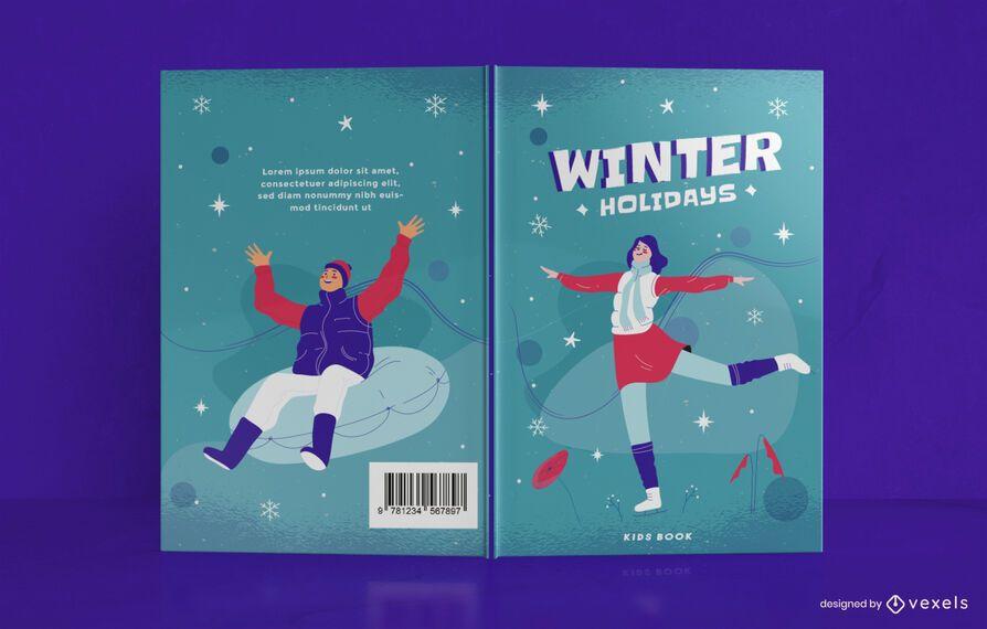 Diseño de portada de libro de diario de vacaciones de invierno