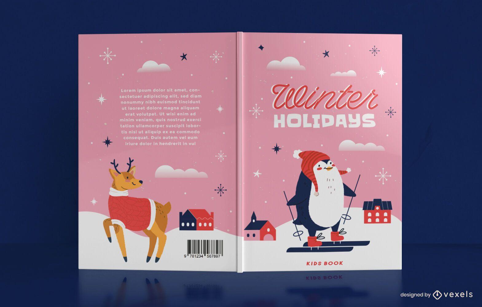 Lindo diseño de portada de libro de invierno