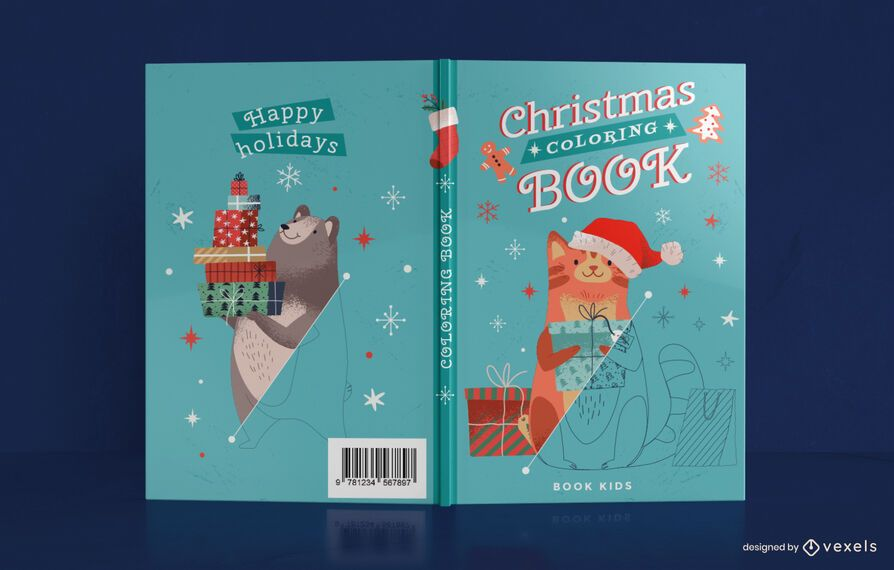 Cute christmas coloring book cover design