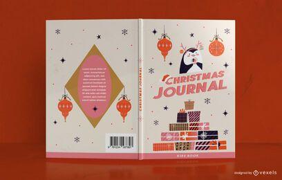 Design de capa de livro para diário de Natal