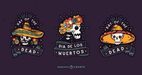 Day of the dead badge set