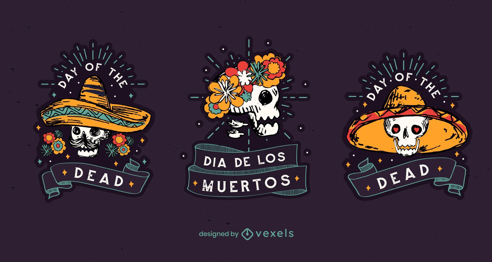 Conjunto de insignias del día de los muertos