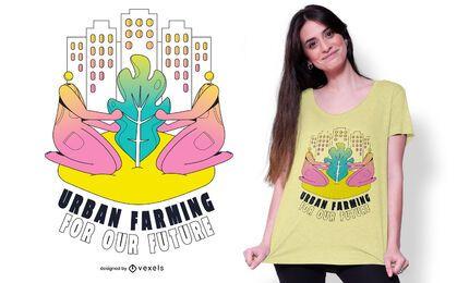 Diseño de camiseta de cita de agricultura urbana.