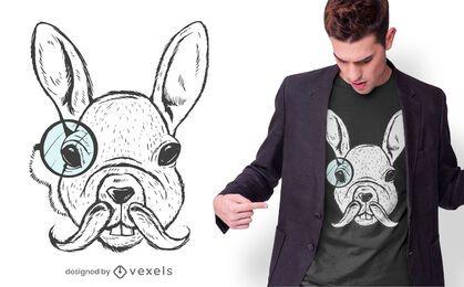 Design de camiseta com ilustração de coelho branco