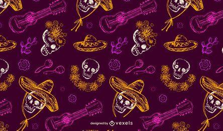 Dia de los muertos diseño de patrón de calavera