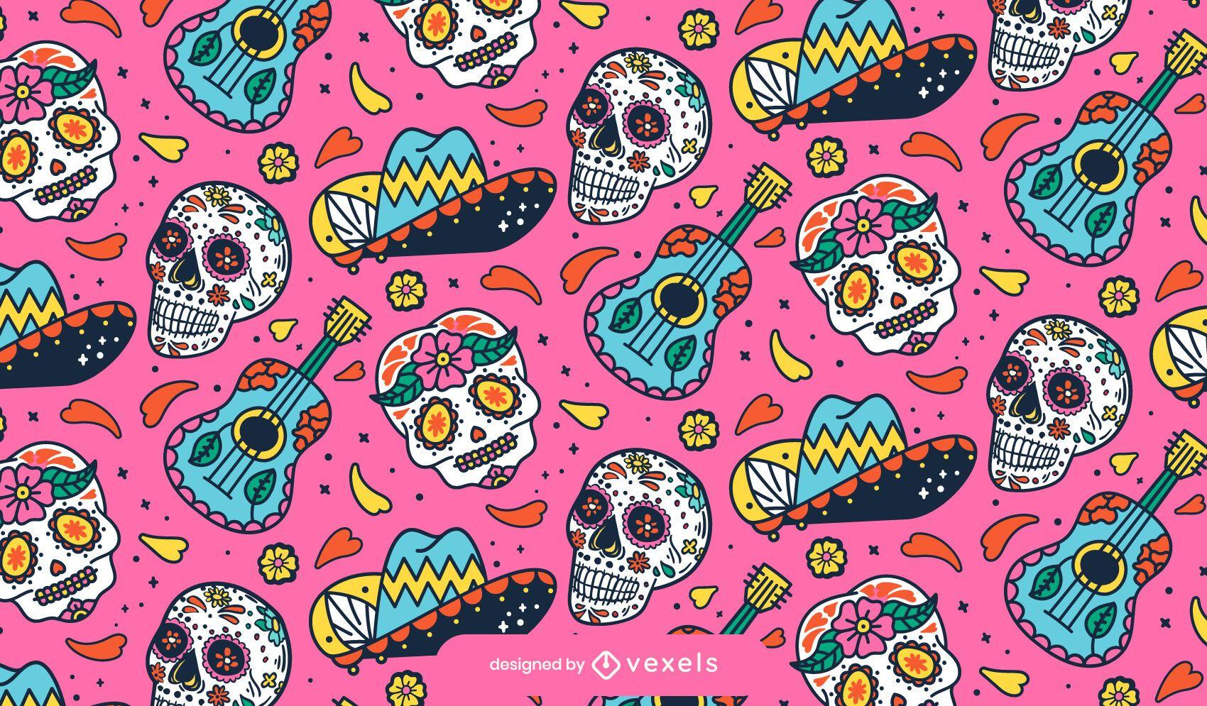 Diseño de patrón de guitarra del día de los muertos.