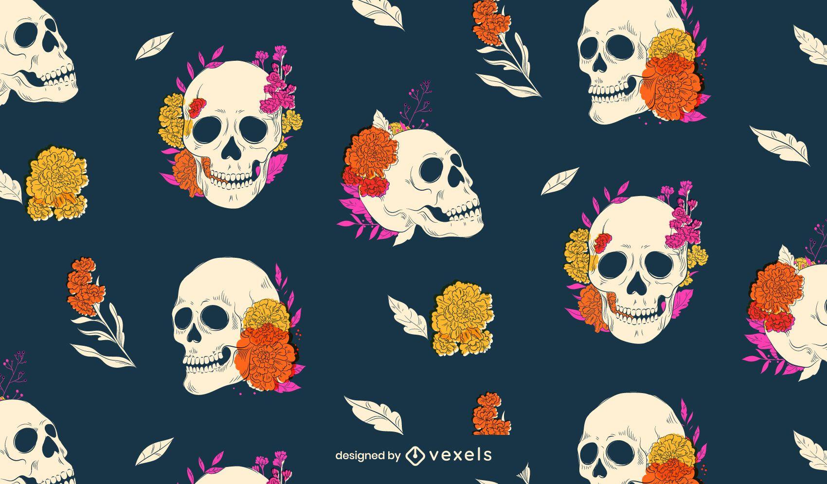 Diseño del patrón del cráneo del día de los muertos