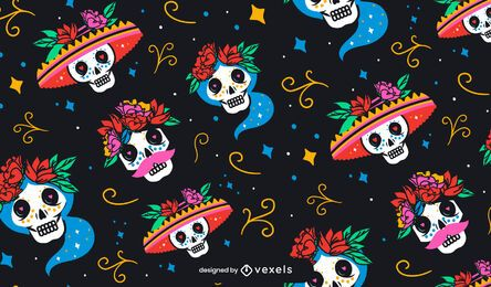 Skull day of the dead pattern design
