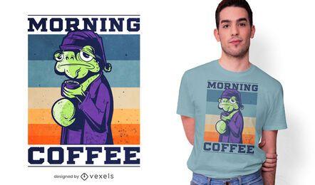 Diseño de camiseta de rana de café de la mañana.