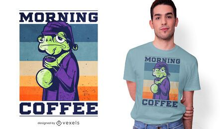 Morning coffee frog t-shirt design