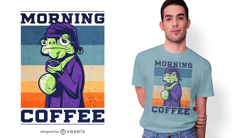 Dise?o de camiseta de rana de caf? de la ma?ana.