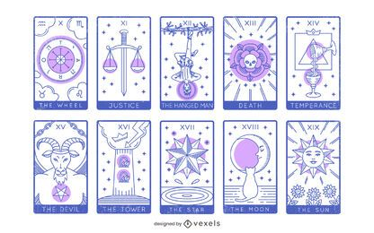 Tarot Major Arcana Design Set 10 to 19